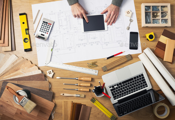 Construction engineer's desk - Stock Photo - Images