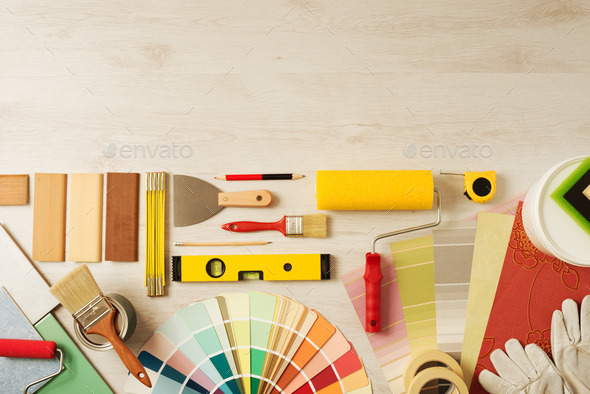Decorator's work table with tools - Stock Photo - Images
