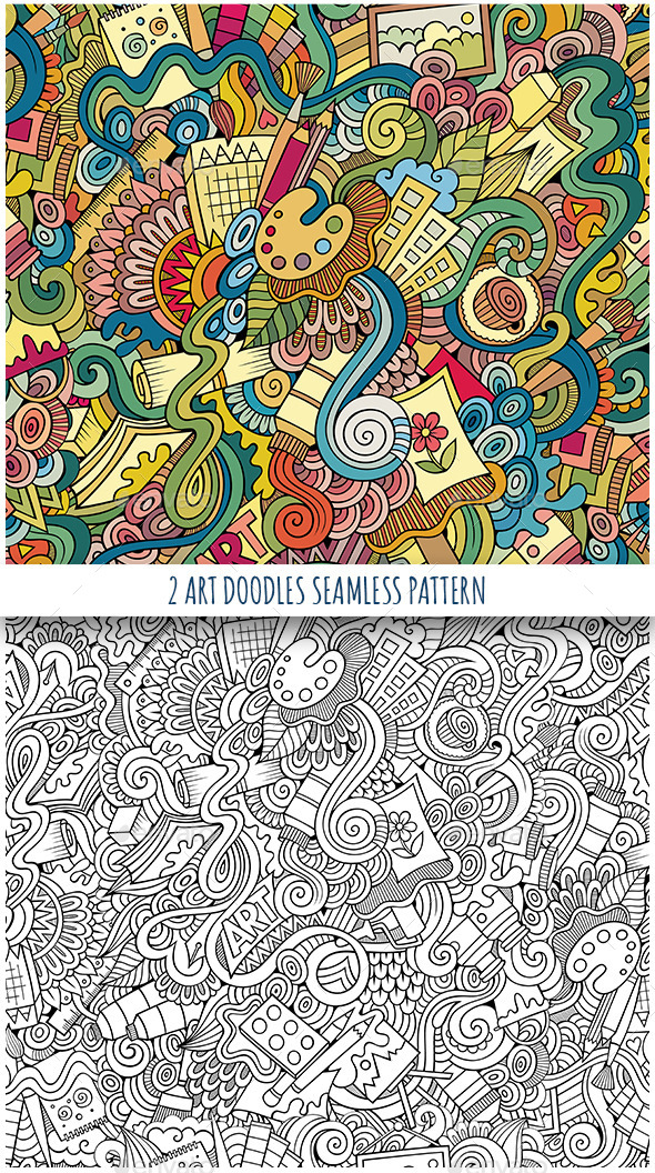 2 Art Doodles Seamless Pattern - Decorative Vectors