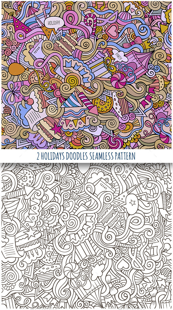 2 Holiday Doodles Seamless Pattern - Seasons/Holidays Conceptual