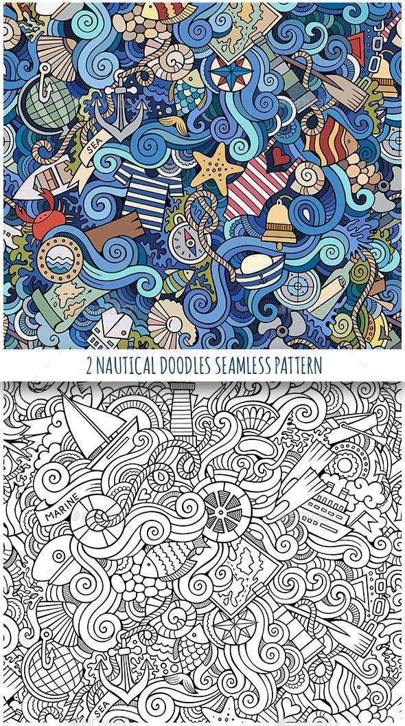 2 Nautical Doodles Seamless Patterns - Travel Conceptual