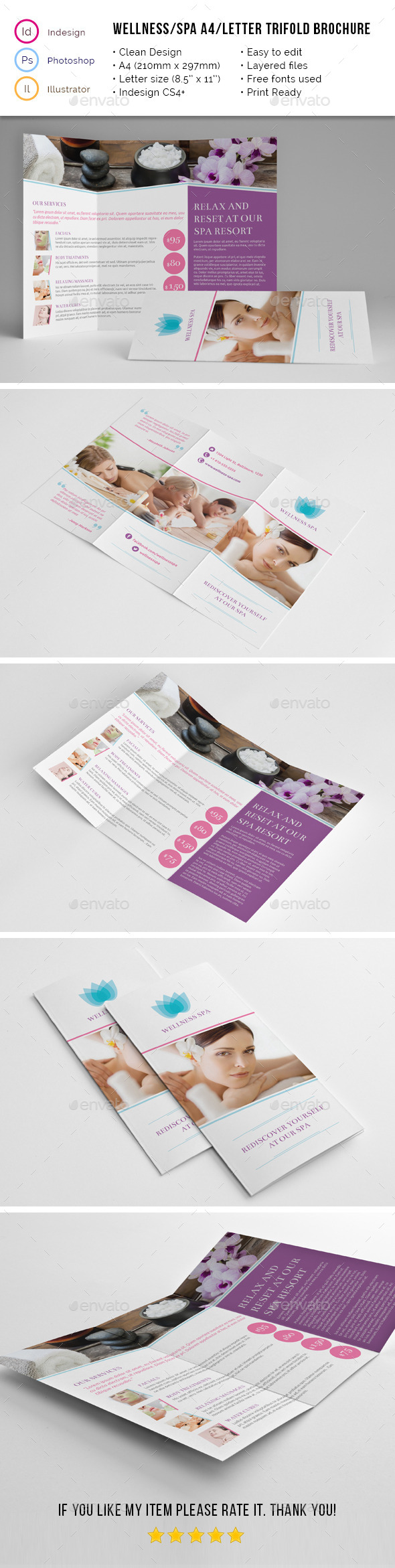 Spa Wellness A4 / Letter Trifold - Corporate Brochures