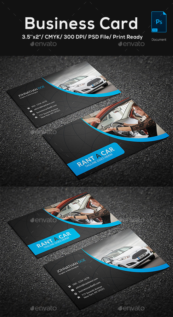 Rent a car business card by mugli graphicriver rent a car business card reheart Gallery