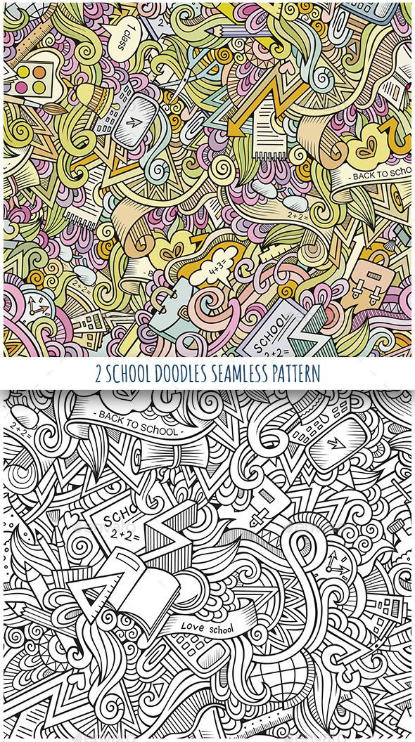 2 School Doodles Seamless Patterns - Conceptual Vectors