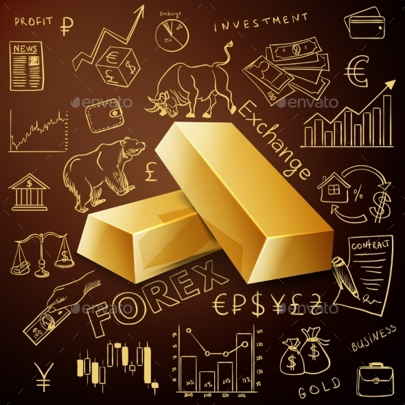Two Gold Nuggets And Exchange Doodle Icon - Concepts Business