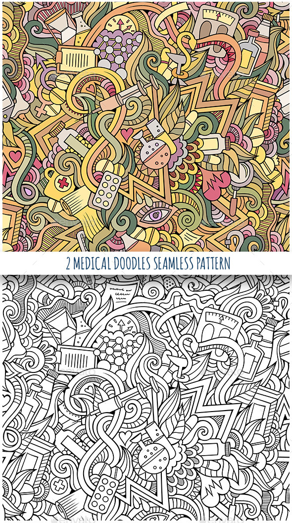 2 Medical and Health Doodles Seamless Patterns - Health/Medicine Conceptual