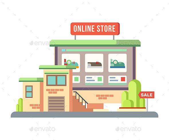Online Shop Building Flat Design - Commercial / Shopping Conceptual