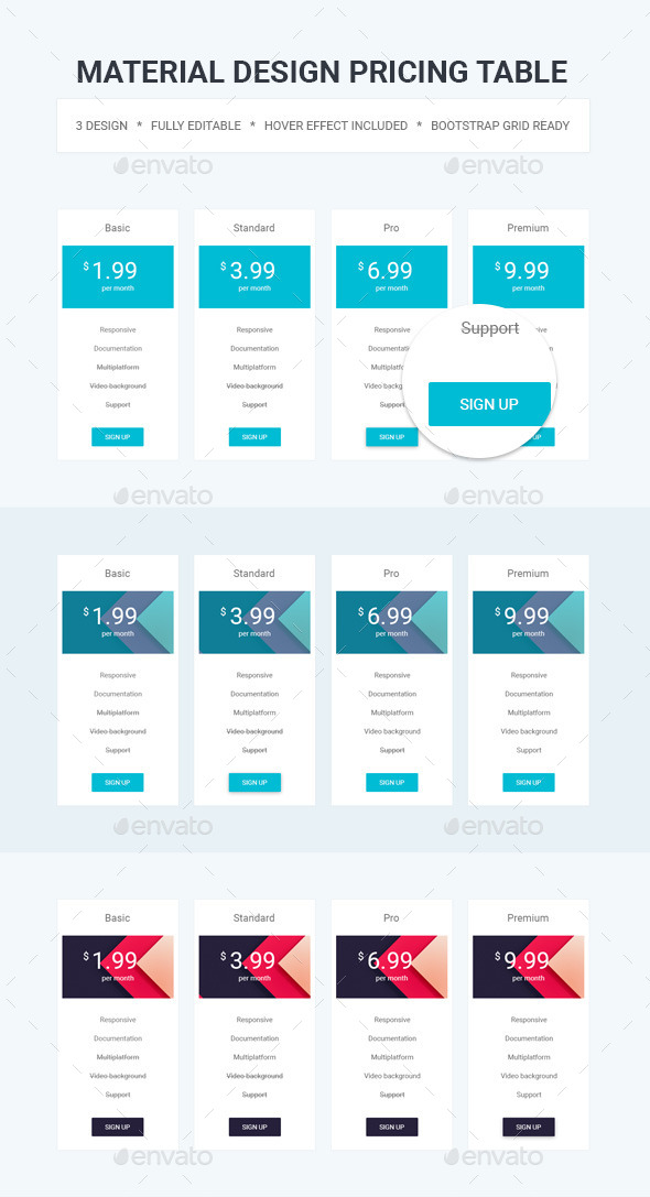 Material Design Pricing Table - Tables Web Elements