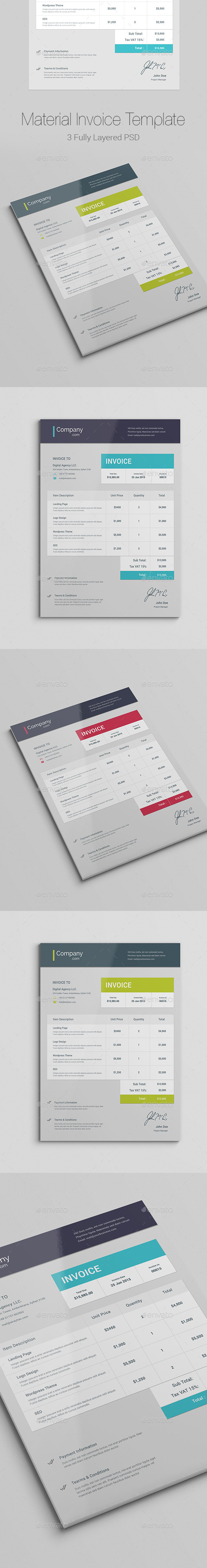 Material Invoice - Proposals & Invoices Stationery