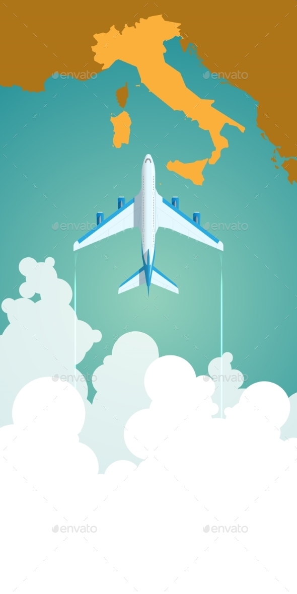 Airplane Flying Through Clouds Above The Map - Travel Conceptual