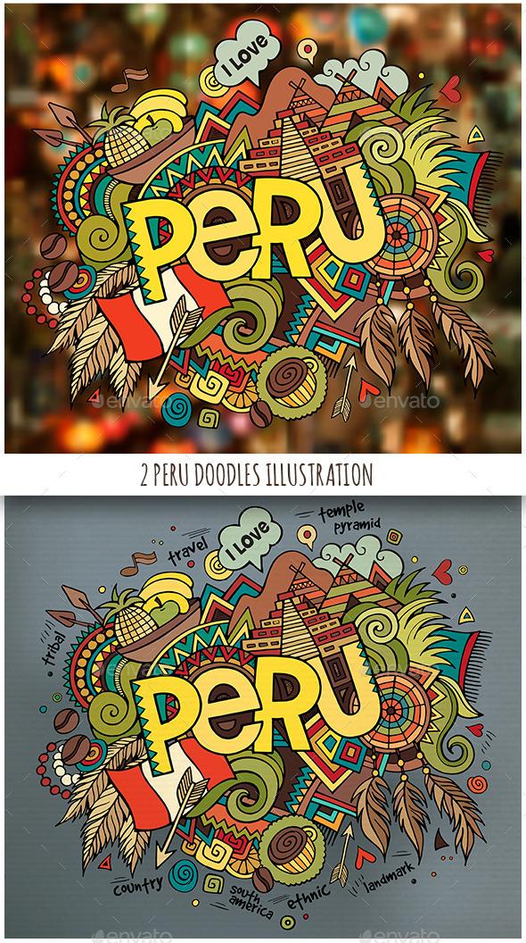 2 Peru Doodles Illustrations - Travel Conceptual