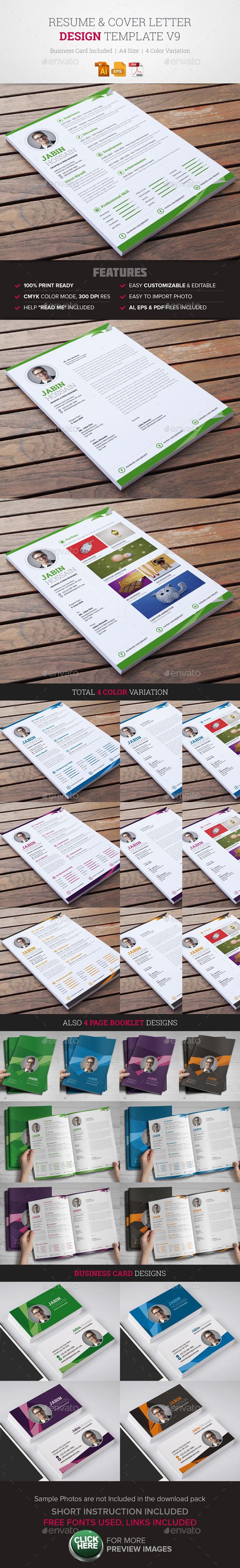 Resume & Cover Letter Template v9 - Resumes Stationery