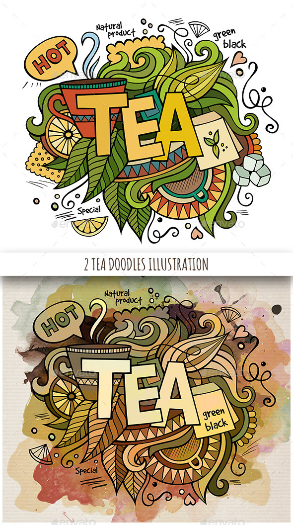 2 Tea Doodles Designs - Food Objects