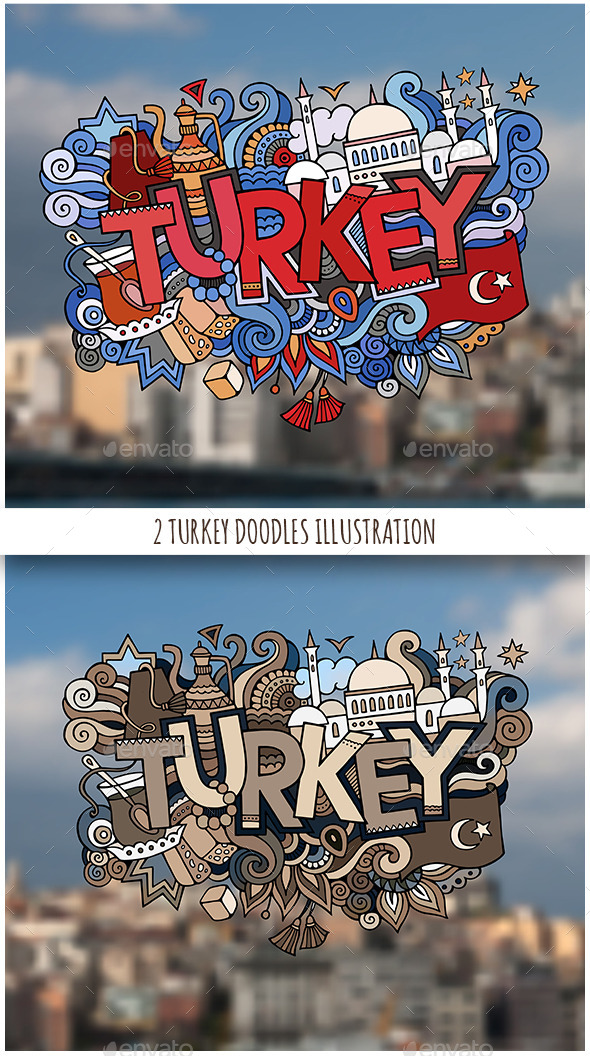 2 Turkey Doodles Designs - Travel Conceptual