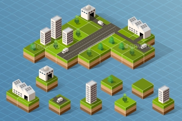 Set Of Isometric City - Buildings Objects