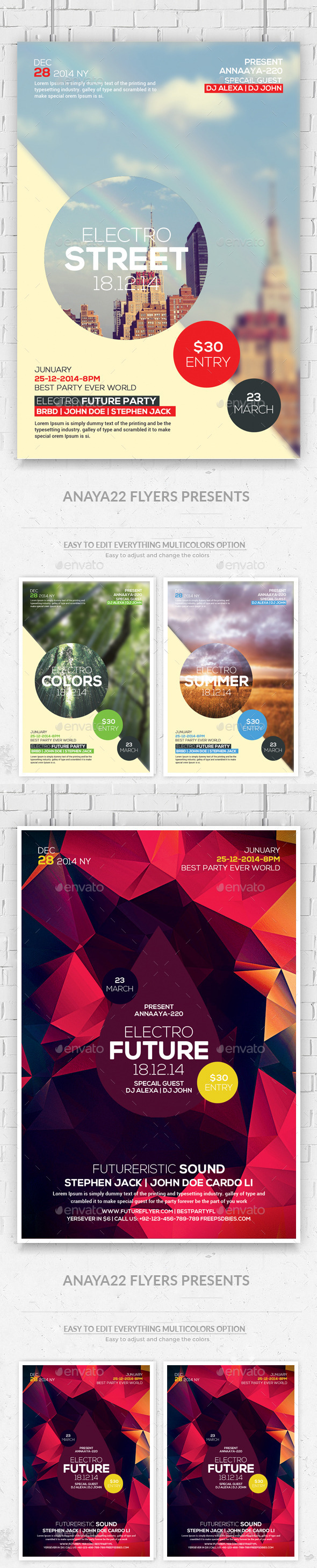 Hipster Party Flyers Bundle - Clubs & Parties Events