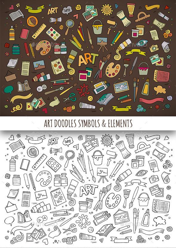 Hand Drawn Art Doodles Symbols - Objects Vectors