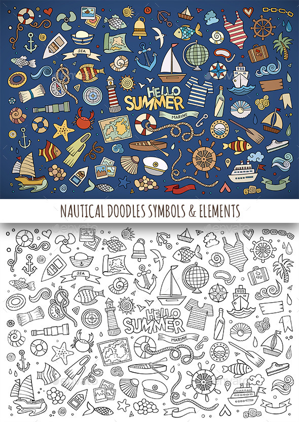 Hand Drawn Nautical Doodles Symbols - Travel Conceptual