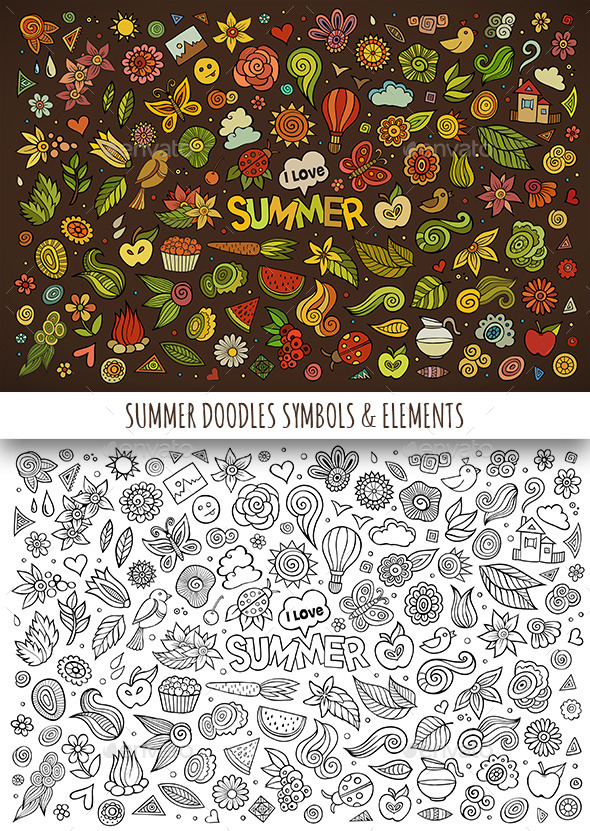 Hand Drawn Summer Nature Doodles Symbols - Seasons/Holidays Conceptual
