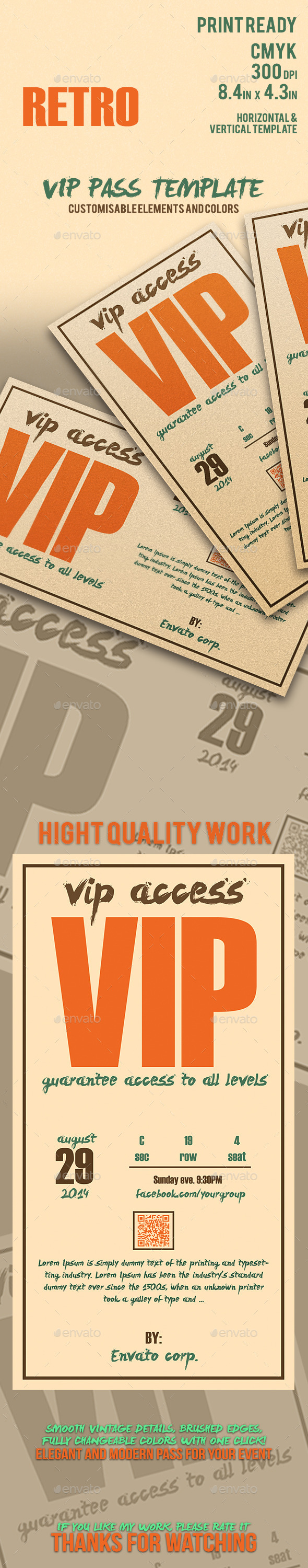 Retro - Elegant Vip Pass Template - Cards & Invites Print Templates