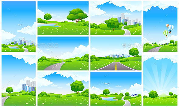 Fresh Green Landscape Backgrounds Set - Landscapes Nature