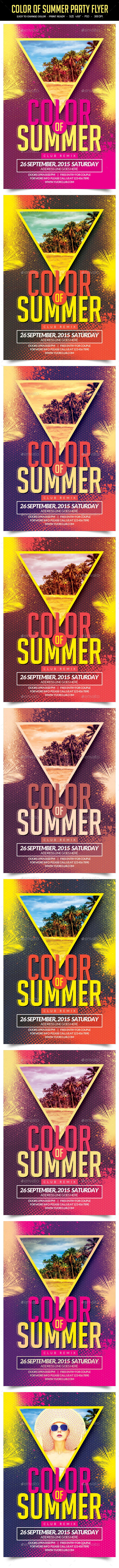 Color Of Summer Party Flyer - Clubs & Parties Events