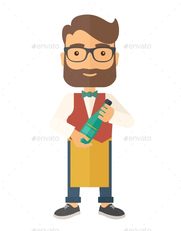 Wine Maker Holding a Bottle of Wine - People Characters