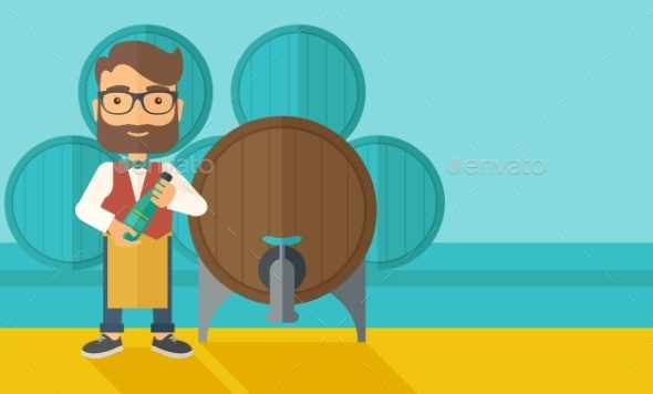 Wine Maker Inspecting Wine From Barrel - Concepts Business