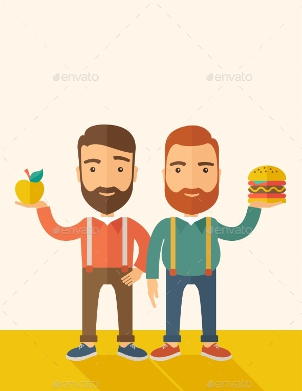 Two Businessmen Comparing Apple To Hamburger - Concepts Business