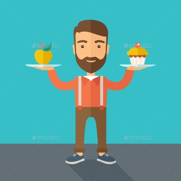 Man Carries Cupcake and Apple - Food Objects