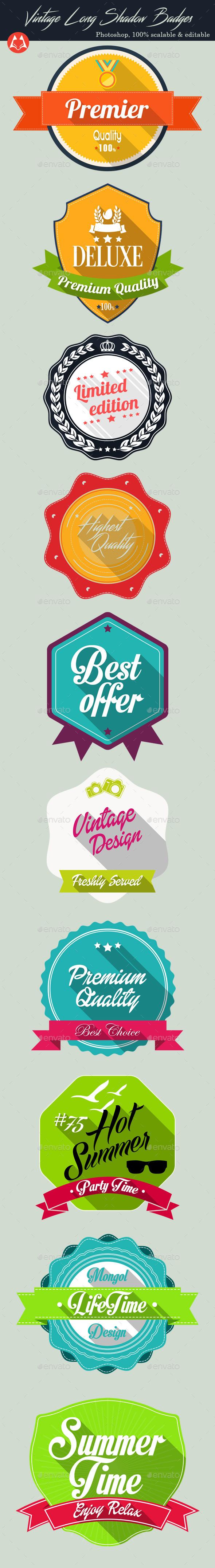 Vintage Long Shadow Badges - Badges & Stickers Web Elements