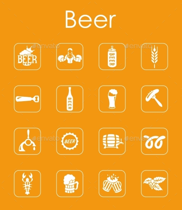Set Of Beer Simple Icons - Food Objects