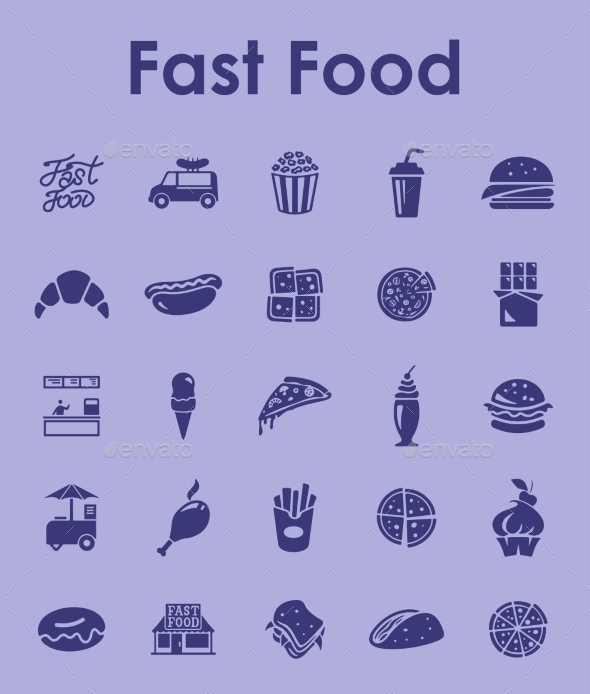 Set Of Fast Food Simple Icons - Food Objects