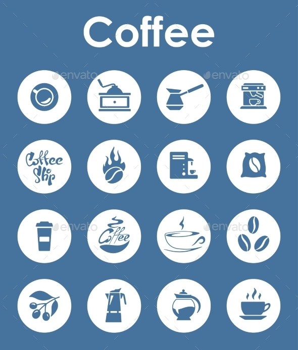 Set Of Coffee Simple Icons - Food Objects