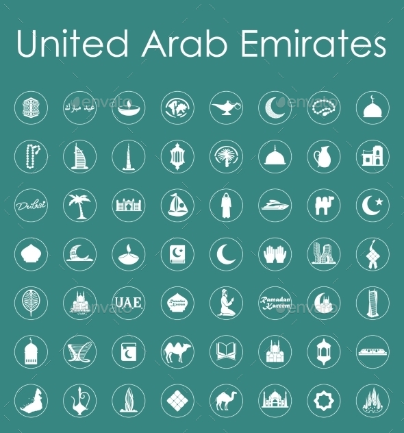 Set Of United Arab Emirates Simple Icons - Miscellaneous Icons