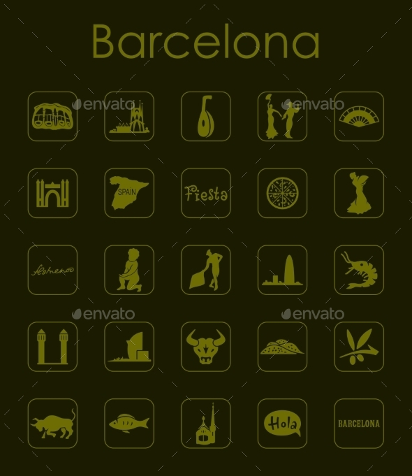 Set Of Barcelona Simple Icons - Miscellaneous Icons