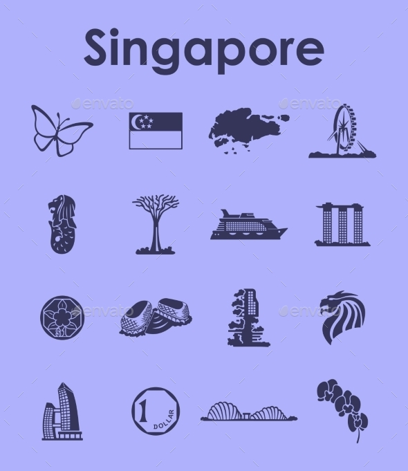 Set Of Singapore Simple Icons - Miscellaneous Icons
