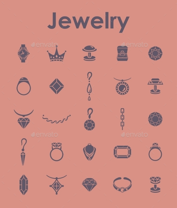 Set Of Jewelry Simple Icons - Icons