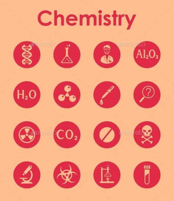 Set Of Chemistry Simple Icons - Icons