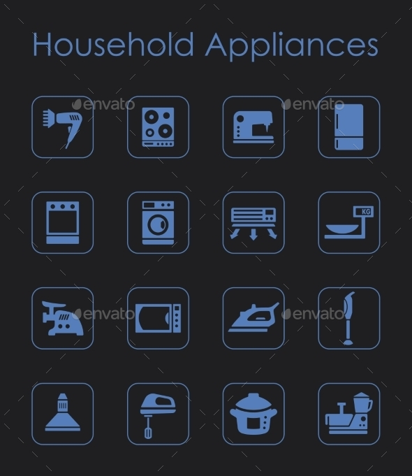 Set Of Household Appliances Simple Icons - Icons