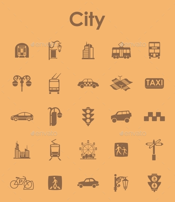 Set Of City Simple Icons - Icons