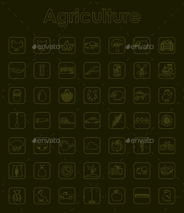 Set Of Agriculture Simple Icons - Icons