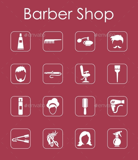 Set Of Barbershop Simple Icons - Icons