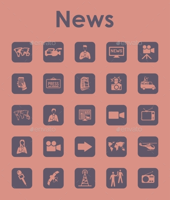 Set Of News Simple Icons - Icons