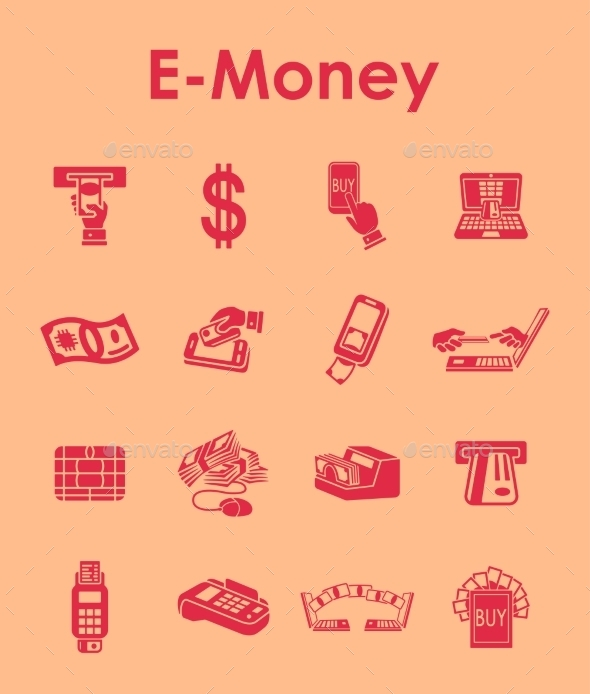 Set Of E-money Simple Icons - Icons