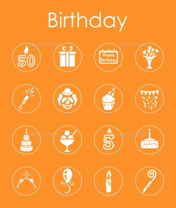 Set Of Birthday Simple Icons - Icons