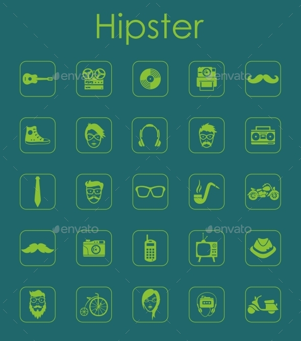 Set Of Hipster Simple Icons - Icons