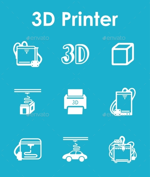 Set Of Three d Printer Simple Icons - Icons