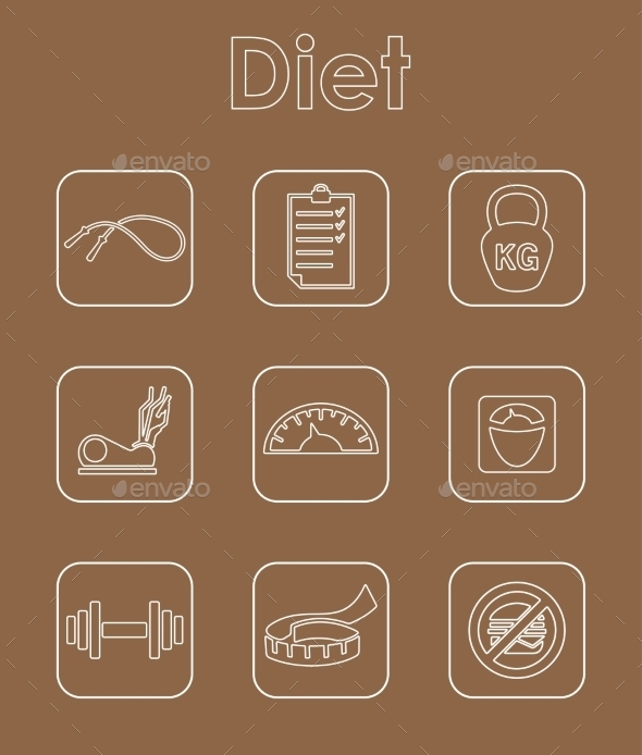 Set Of Diet Simple Icons - Icons
