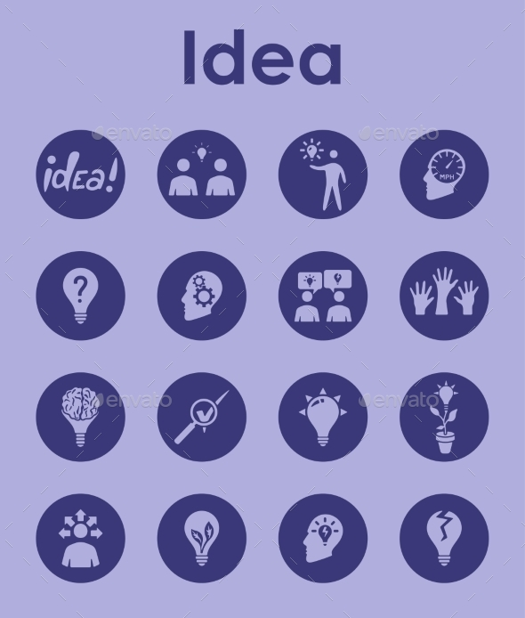 Set Of Idea Simple Icons - Icons